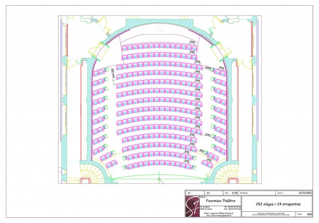 Plan d'aménagement fauteuils de salle de spectacle